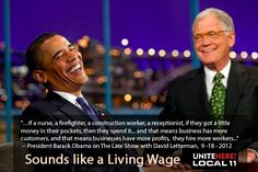 The President speaks for a Living Wage