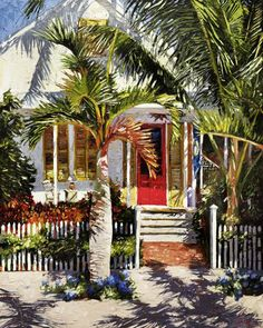 This is soooo beautiful. Click the small pic to see MUCH bigger with all the brush strokes! Conch House, Microsoft, Caribbean Art, West Art, Tropical Art, Beach Art, Watercolor Paintings, Acrylic Paintings, Oil Paintings