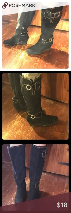 Black knee-high boots w/ leather straps & buckles Black knee-high boots with leather straps and buckles. Wedge heel. Very comfortable- great for city life where you have to walk plenty. AEROSOLES Shoes Heeled Boots