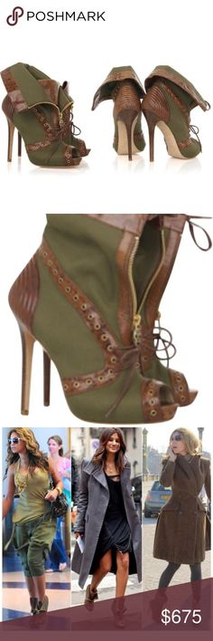 Alexander McQueen Fold-Over Bootie 36.5 **$1200 Alexander McQueen Leather Trim Fold-Over Bootie 36.5 **$1200  These military look dark khaki canvas ankle boots have a peep toe with a 5 inch wooden heels.  The boot top has a skull zip closure and can be folded back to expose the leather tongue. Other features include the brown leather trim with tonal stitching detail, gold-tone hardware and laces at the bottom. Made in Italy. Light wear. Very good condition Alexander McQueen Shoes Ankle Boots…
