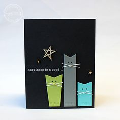 handmade greeting card from Ink About Me: SugarPea Designs die cut fishtail banners dressed as cats ... graphic look ... black background ...