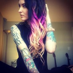 Purple, pink and blonde hair