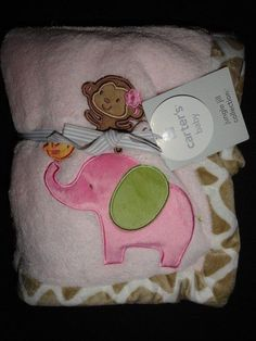 NWT Carter's Elephant Monkey Giraffe Jungle Jill Girl's Pink Blanket New #Carters