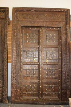This is an amazing Elegant Royal Antique Indian doors with Frame are made in extremely strong teak wood with an old world patina of washed wood, the iron straps add rustic character and the grounding element. Wood Door Frame, Wooden Doors, Antique Doors, Old Doors, Barn Doors, Rustic Wood Furniture, Teak Wood, Architectural Antiques, Architectural Elements