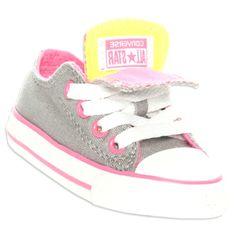 e121c75ab Bebés Meninas Sapatos Converse CHUCK TAYLOR DOUBLE TONGUE OX Criança  Tamanhos Cinza   Rosa