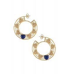 Silver Circular Lapis & Zircon Earrings