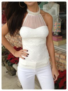 White Lace Halter Top $43