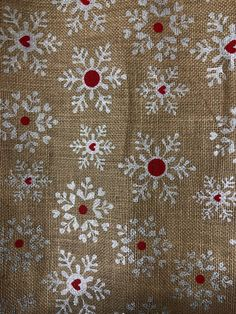 Snowflake printed burlap 4 yards all one peice by GeeGeeGoGo on Etsy https://www.etsy.com/listing/563080312/snowflake-printed-burlap-4-yards-all-one