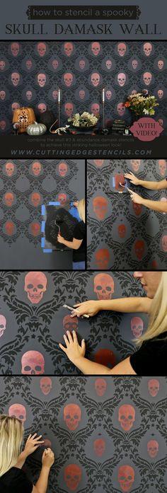 Dekoration damask Skull Spooky Stencil Stories wallHow To Stencil a Spooky Skull Damask Wall Stencil Stories