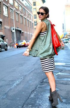 no love for the shoes but the vest is cool with stripe dress #fashion #style #jacket