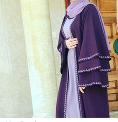 Nice Abaya with emboydary Iranian Women Fashion, Islamic Fashion, Muslim Fashion, Niqab Fashion, Fashion Dresses, Estilo Abaya, Modele Hijab, Mode Abaya, Hijab Style Dress