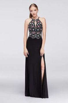 A true statement-maker, this long jersey gown is brilliantly embellished with colorful, light-catching beads.   By Blondie Nites  Polyester, spandex  Back zipper; fully lined  Spot clean  Imported