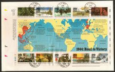 WWII First Day Covers | 1994 - World War II Souvenir Sheet First Day Cover First Day Covers, One Day, Us Army, World War Ii, Wwii, Ocean, Plate, Souvenir, World War Two
