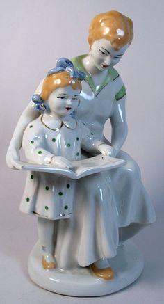 1950s Vintage Russian USSR Porcelain Figure Figurine Mother and Daughter Large | eBay