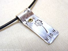Wish Necklace Dandelion Necklace sterling Silver hand stamped with Rustic Charm.... $45.00, via Etsy.