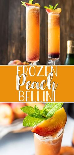 Celebrate summer's favorite fruit with the best Frozen Peach Bellini! This brunc… Celebrate summer's favorite fruit with the best Frozen Peach Bellini! This brunch-perfect cocktail is dressed up with a splash of grenadine, and will be welcomed Peach Drinks, Brunch Drinks, Fruit Drinks, Beverages, Peach Bellini Recipe, Frozen Peach Bellini, Bellini Cocktail, Smoothies, Diy Home