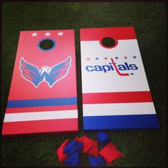 hand painted capitals cornhole boards