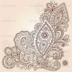 paisley tattoo   ... Paisley Henna Mehndi Paisley Floral Tattoo Doodle- Vector Illustration