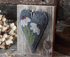 Primitive Folk Art Wool Applique Mother's Day by rockriverstitches