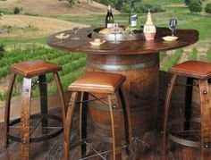 Recycled Wine Barrel Dining Table Part 65