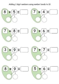 21 Adding 10 to A Number Worksheet Adding 2 digit numbers using number bonds to 10 clasa 0 Math For Kids, Fun Math, Math Activities, Number Bonds Activities, Number Bonds Worksheets, Therapy Activities, Math Games, Math Classroom, Kindergarten Math