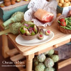 Fig fruits and salad in a bowl-12th scale miniature food