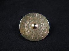 """Scarce Chased/Engraved BRASS COLONIAL BUTTON c. mid-late 18th Century 1 7/16"""""""
