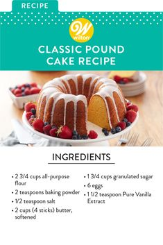 Pound cake gets its name from a traditional recipe that includes a pound each of four ingredients: flour, butter, eggs and sugar. The moist and delicious cake is perfect for dessert anytime. Try it toasted for breakfast—yum! Pound Cake Recipes, Frosting Recipes, Cupcake Recipes, Baking Recipes, Cupcake Cakes, Dessert Recipes, Cupcakes, Classic Pound Cake Recipe, Delicious Desserts