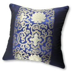 Silky Royal Blue Decorative Embroidered Oriental Cushion Cover / Pillow Case