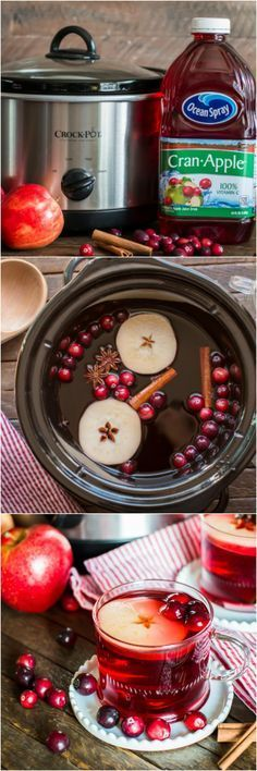( ^o^ ) Slow Cooker Cranberry Apple Cider. Just a few ingredients to make the BEST cider! Christmas Drinks, Holiday Drinks, Christmas Treats, Christmas Baking, Holiday Treats, Party Drinks, Christmas Movies, Christmas Dinner Party Decorations, Christmas Oranges