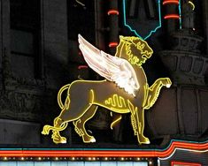 Neon Sign Photo Winged Lion Marquee Art Bright by EclecticForest