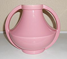 Coors Pottery Gloss Pink/Matte White Golden Vase!  Rare