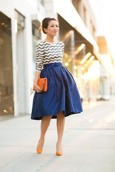 October Skies :: Royal blue skirt & Orange details