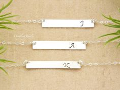 Personalized SILVER Bar Necklace SET of THREE by DanglingJewelry