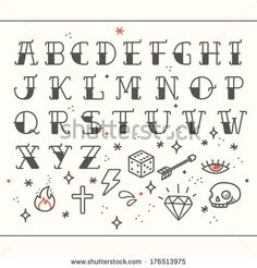 Poster Tattoo style font with rounded corners, black condensed letters alphabet.  Old school tattoo elements. Tattoo letters, alphabet. Stan...