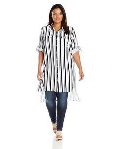 Calvin Klein Women's Plus Size Stripe Roll Sleeve Tunic, Twilight/Cream Fashion Deals, Fashion Brands, Fashion Outfits, How To Roll Sleeves, Calvin Klein Women, Nightwear, Plus Size Women, Tunic Tops, Clothes For Women