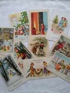 10 pcs antique litho, graphical Christmas postcards, kids, cat, dog, angels, elf #Christmas Christmas Postcards, Vintage Postcards, Elf, 1950s, Angels, Christmas Decorations, Antiques, Cats, Vintage Travel Postcards