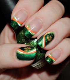 Irish Pride: The Irish flag ribbon effect and the perfect sharock stencils make this design a standout. It's also obviously not for the beginner nail artist.