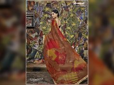 Create an aura of freshness by adorning this brown & yellow coloured georgette #saree which will add an extra charm to your beauty. #Shopnow  #HIMTARA0616 #Couture #Couturecollection2016/17 #glamour #timeless #ThePersianStory