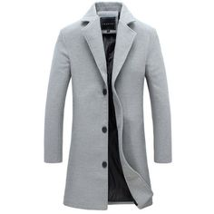 Grey Single Breasted Wool Coat