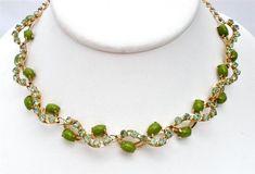 "Peridot Green Rhinestone Necklace Vintage Prong Set High End Estate 17"" Long | eBay"