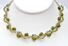 "Peridot Green Rhinestone Necklace Vintage Prong Set High End Estate 17"" Long 