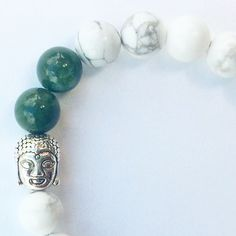 White Howlite and Indian Agate with Buddha by NidraBeads on Etsy Indian Agate, Spiritual Jewelry, Buddha, Jewelry Making, Beaded Bracelets, Trending Outfits, Beads, Unique Jewelry, Handmade Gifts