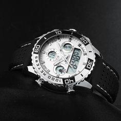Tiannbu New Mens Sport Leather Date Digital Watch