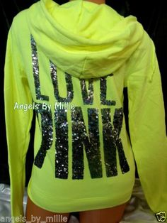 Victoria's Secret PINK Large L Hoodie Neon Yellow Bling Funnel Neck Perfect Zip