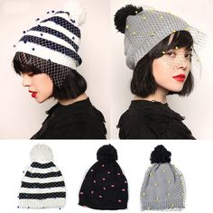 Women Veil Knitted Mini Party Hat With Gauze Mesh Caps Crochet Beanie New #Unbranded #Beanie