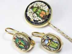Terrific Antique 14k Gold Micro Mosaic Earrings And Stickpin Suite   c.1850