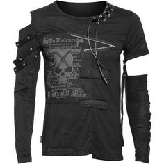 Gothic clothing: men\'s shirt, open shoulder, detached sleeve