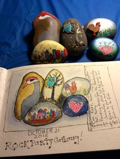 Had my semi-annual Rock Star Gathering yesterday. Eight friends came over and painted/decorated rocks that we put out for folks to find at an upcoming festival. I just picked these 5 to put in my watercolor journal as a memory.