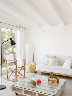 Casa vacaciones Menorca: Mesa centro palé